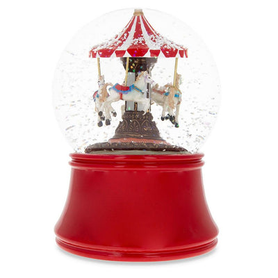 Red Carousel Spinning Musical Water Snow Globe by BestPysanky