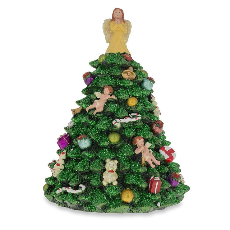 Tabletop Christmas Tree with Angel Rotating Musical Figurine by BestPysanky