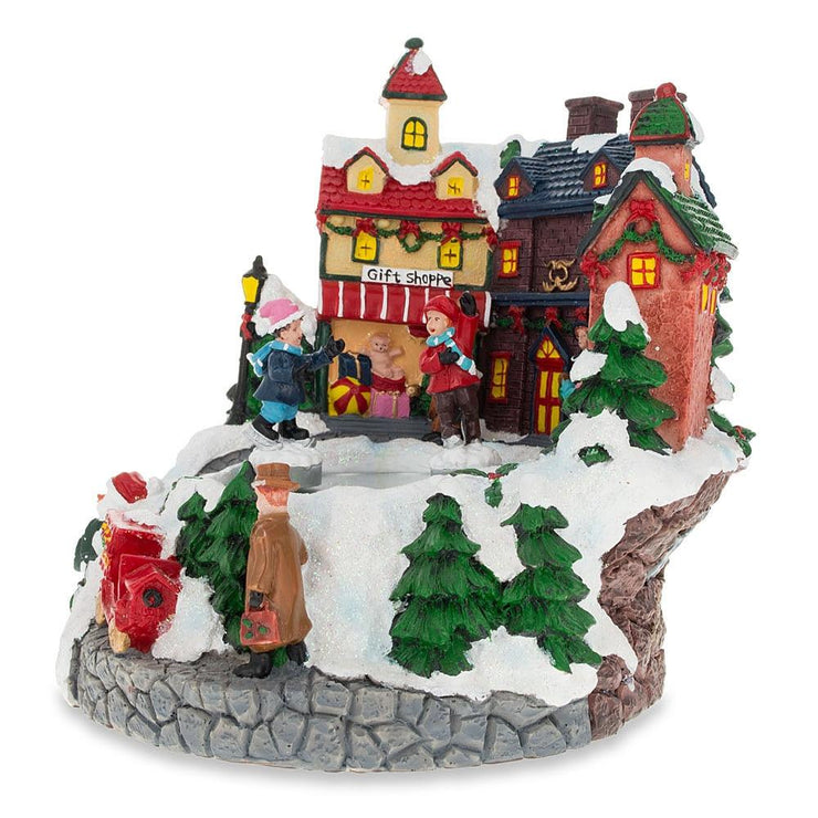 Buy Online Gift Shop Spinning Children Skating at Winter Village Ring Musical Figurine
