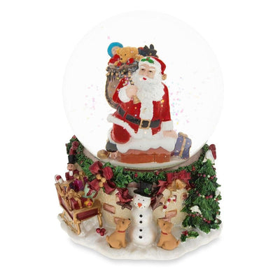 Santa Climbing Chimney Musical Water Snow Globe by BestPysanky
