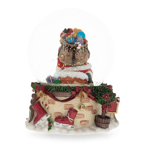Santa Climbing Chimney Musical Snow Globe