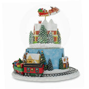 Santa Flying over Winter Village & Rotating Train Musical Snow Globe