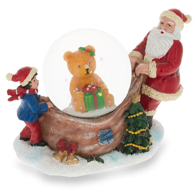 Santa Opening a Teddy Bear Gift Mini Water Snow Globe by BestPysanky