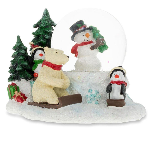 Cheerful Snowman, Polar Bear and Penguins Mini Snow Globe by BestPysanky