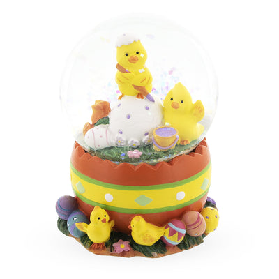 Chicks Decorating Easter Eggs Mini Water Snow Globe by BestPysanky