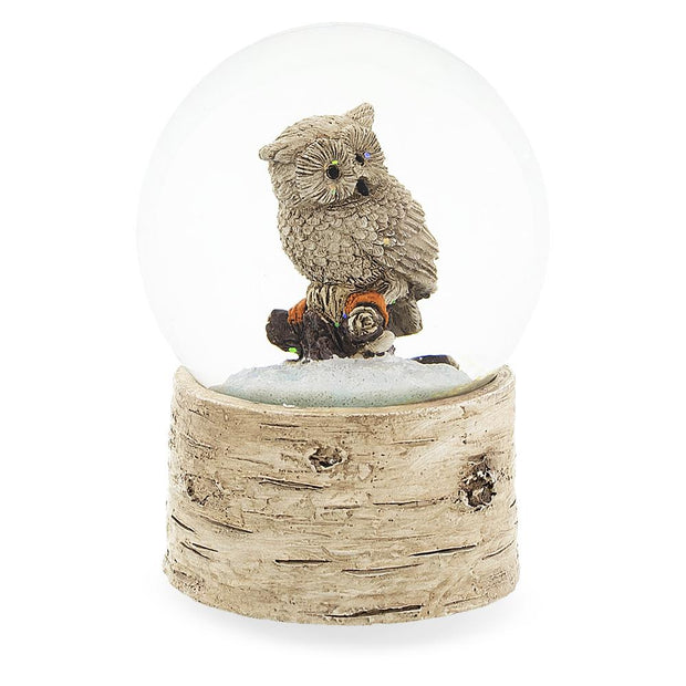 Buy Online Gift Shop White Owl on a Tree Branch Musical Water Snow Globe