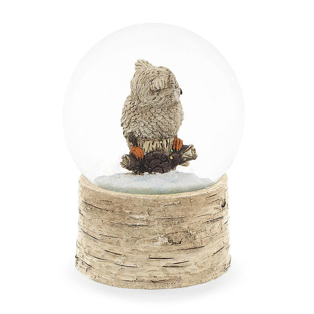 White Owl on a Tree Branch Musical Water Snow Globe
