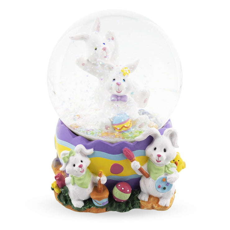 Bunnies Decorating Easter Eggs Musical Water Snow Globe
