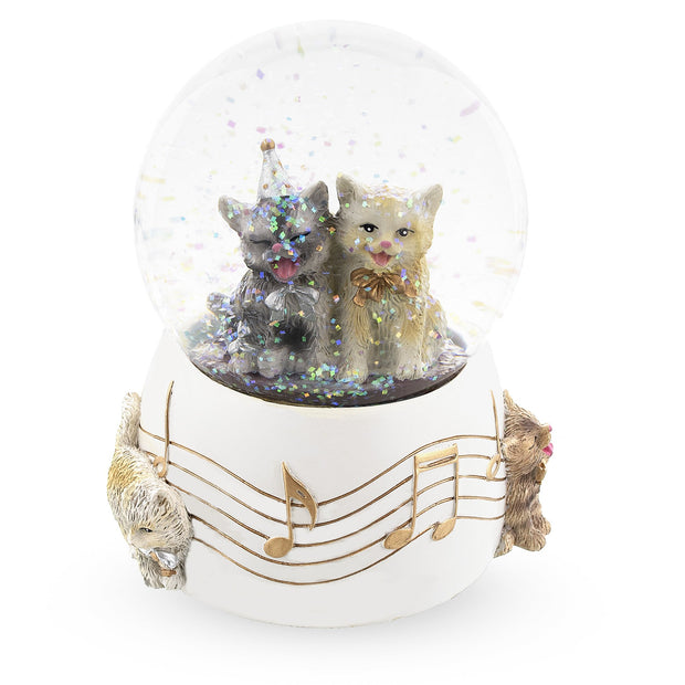 Cats Party Musical Water Snow Globe
