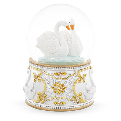 White Swans in Love Musical Water Snow Globe by BestPysanky