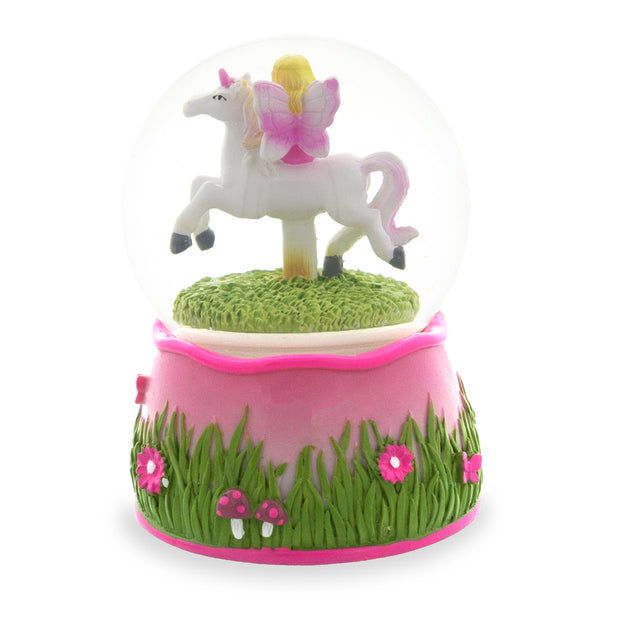 Buy Online Gift Shop Fairy Riding Unicorn Spinning Carousel Musical Water Snow Globe