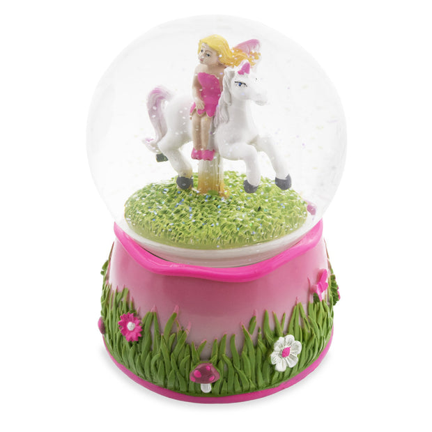 Fairy Riding Unicorn Spinning Carousel Musical Water Snow Globe
