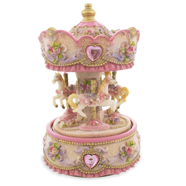 Revolving Carousel with Three Horses Musical Figurine by BestPysanky