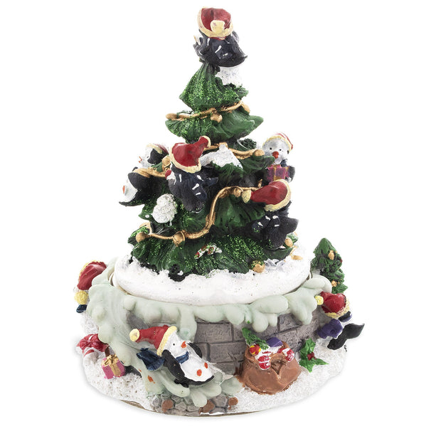 Penguins Decorating Spinning Christmas Tree Musical Figurine