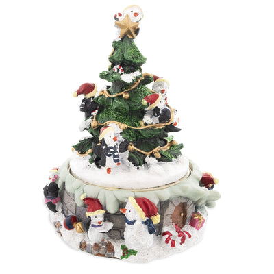 Penguins Decorating Spinning Christmas Tree Musical Figurine by BestPysanky