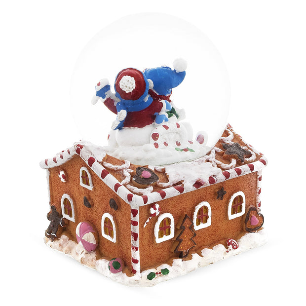 Snowmen Couple in Gingerbread House Musical Snow Globe
