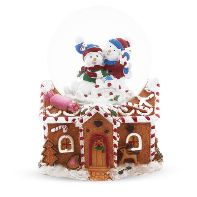 Snowmen Couple in Gingerbread House Musical Water Snow Globe by BestPysanky