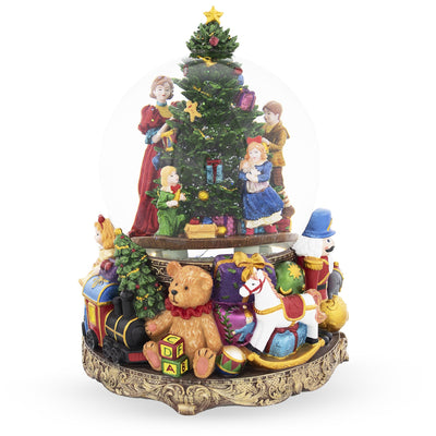 Children Decorating Christmas Tree Large Musical Snow Globe by BestPysanky