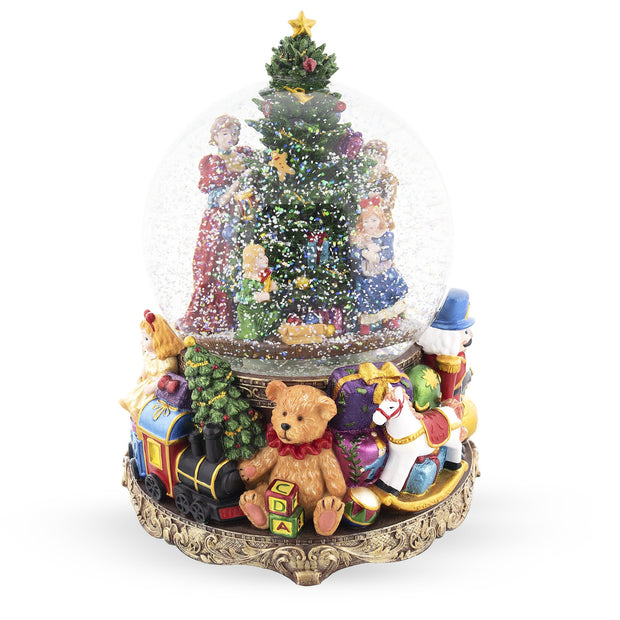 Children Decorating Christmas Tree LED Lights Musical Water Snow Globe