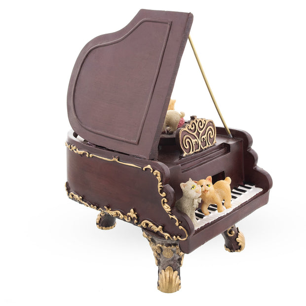 Cats Playing the Piano Animated Figurine with Music Box