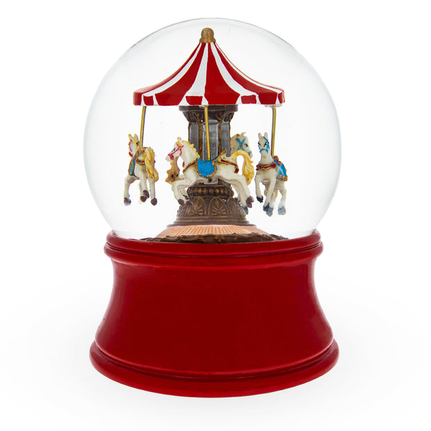 Red Carousel Spinning Musical Box Water Globe by BestPysanky