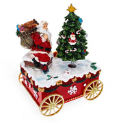 Santa with spinning Christmas Tree Musical Box on Wheels by BestPysanky