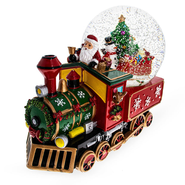 Snowman and Christmas Tree With Train Base Musical Water Globe