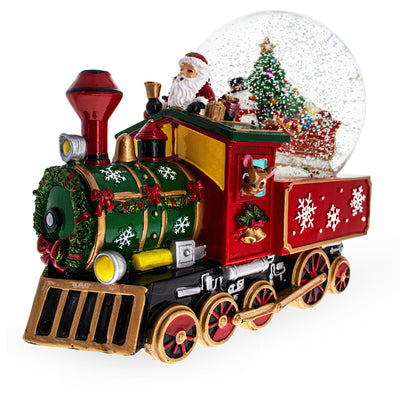 Snowman and Christmas Tree With Train Base Musical Water Globe by BestPysanky