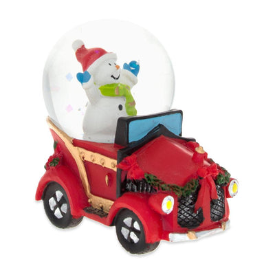 Joyful Snowman Riding a Christmas Car Miniature Snow Globe by BestPysanky