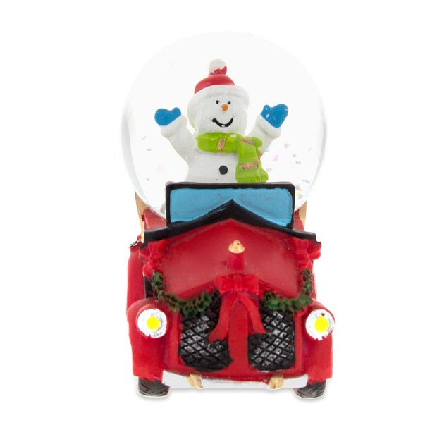 Joyful Snowman Riding a Christmas Car Miniature Snow Globe