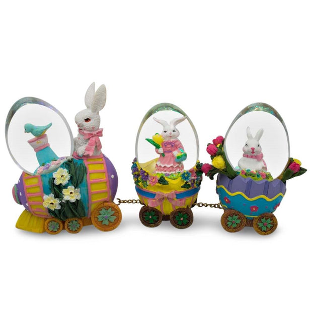 Bunnies Riding Easter Egg Train Water Globe