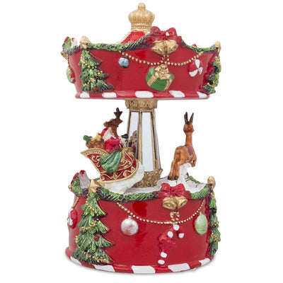 Santa and Reindeer Riding Carousel Spinning Musical Christmas Figurine by BestPysanky