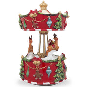 Buy Online Gift Shop Santa and Reindeer Riding Carousel Spinning Musical Christmas Figurine