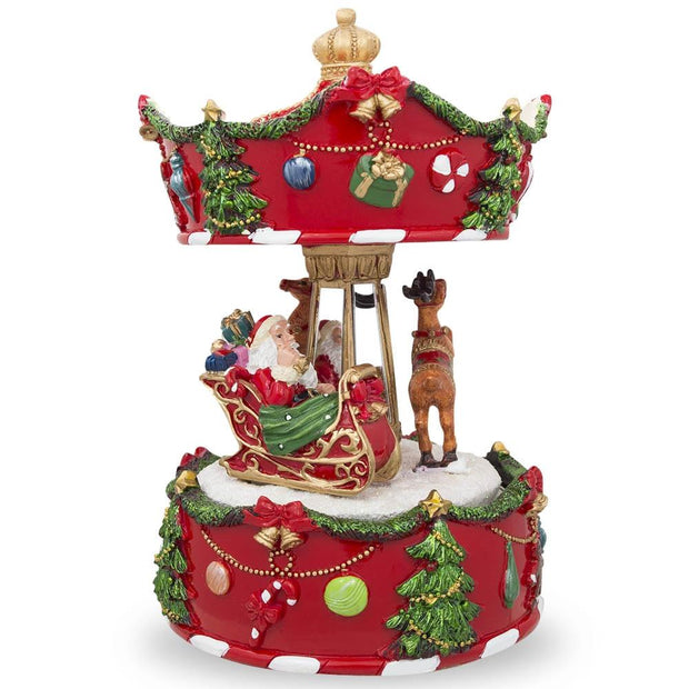 Rotating Carousel with Santa and Reindeer Christmas Musical Box by BestPysanky