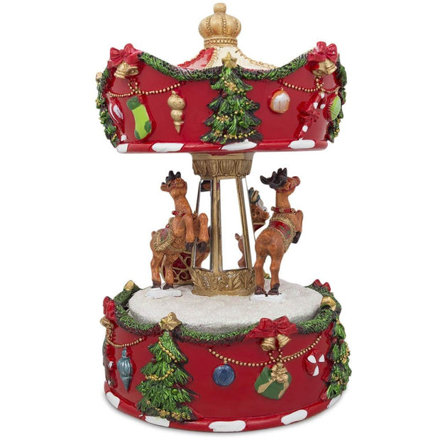 Buy Online Gift Shop Rotating Carousel with Santa and Reindeer Christmas Musical Box