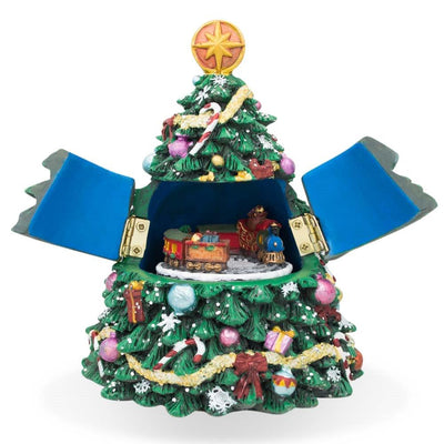 Spinning Musical Tabletop Christmas Tree with Moving Train Figurine by BestPysanky