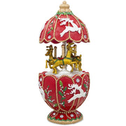 Animated Musical Carousel with Golden Reindeer by BestPysanky