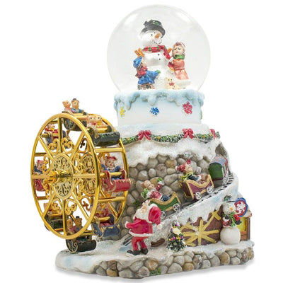 Rotating Ferris Wheel with Gnomes Musical Snow Globe by BestPysanky
