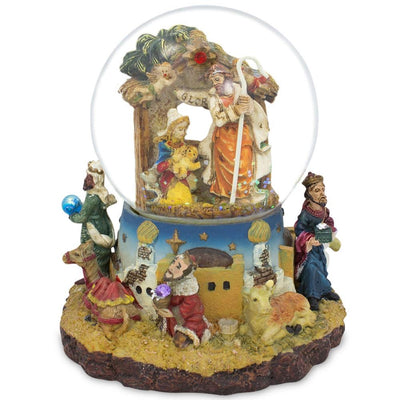 Kings Holding Gifts Nativity Scene Musical Snow Globe by BestPysanky