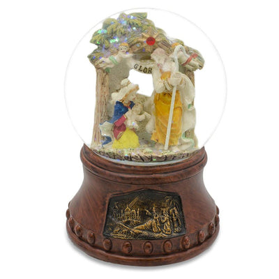 Holy Family with Angels Nativity Scene Musical Water Snow Globe by BestPysanky