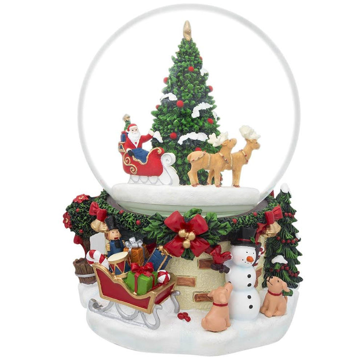 Santa by Christmas Tree Rotating Musical Water Globe by BestPysanky