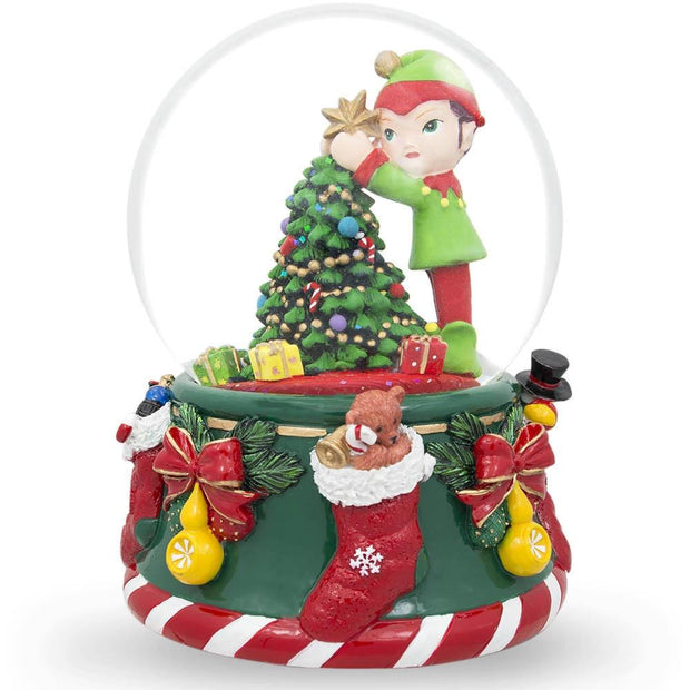 Elf Decorating Christmas Tree with Ornaments Musical Snow Globe by BestPysanky