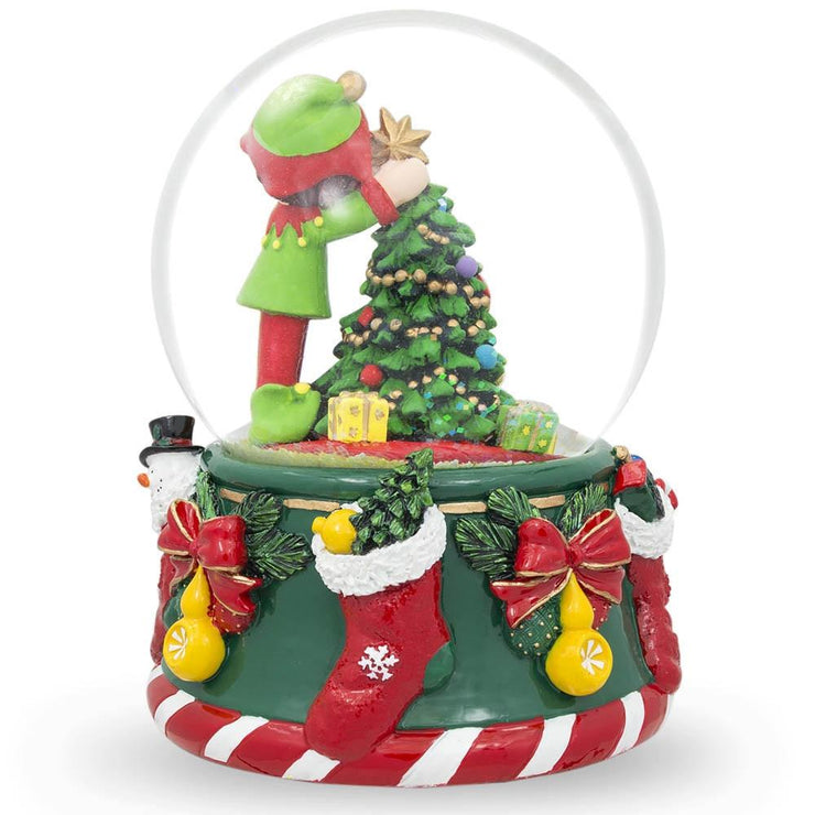Buy Online Gift Shop Elf Decorating Christmas Tree with Ornaments Musical Water Snow Globe