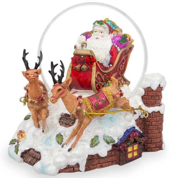 Santa Delivers Christmas Gifts Musical Snow Globe by BestPysanky