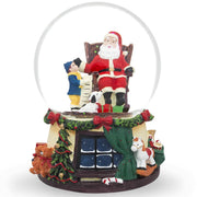 Boy and Dog Reading Gift List to Santa Musical Snow Globe by BestPysanky