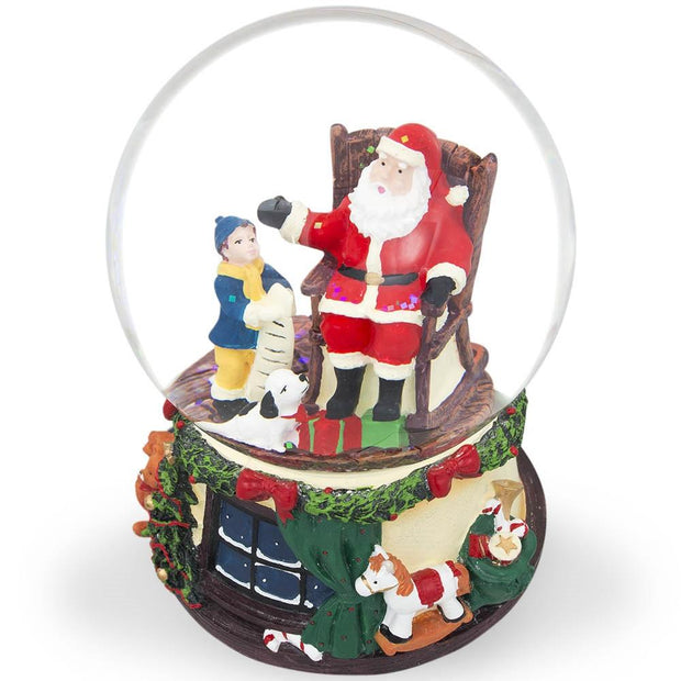 Boy and Dog Reading Gift List to Santa Musical Snow Globe