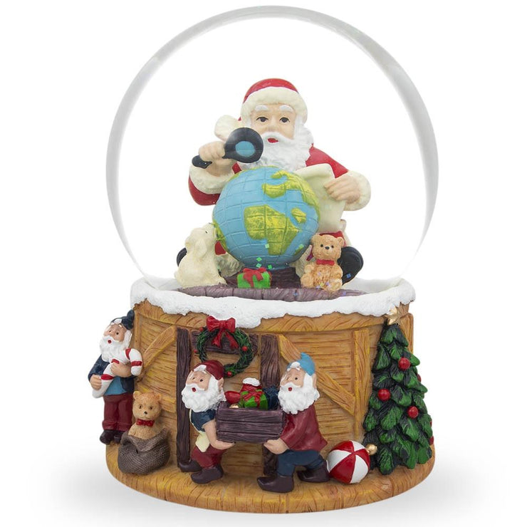 Santa Exploring World with Gnomes Musical Water Snow Globe by BestPysanky
