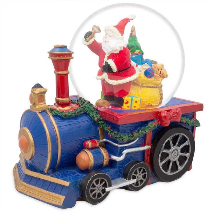 Santa Delivering Christmas Gifts by Train Musical Water Snow Globe by BestPysanky