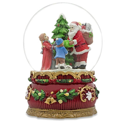 Santa Giving Christmas Gifts Musical Snow Water Globe Figurine by BestPysanky