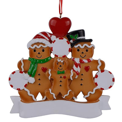 Gingerbread Family of 3 Hand Painted Resin Christmas Ornament by BestPysanky